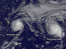 NASA map of Hurricane Iselle and Hurricane Julio