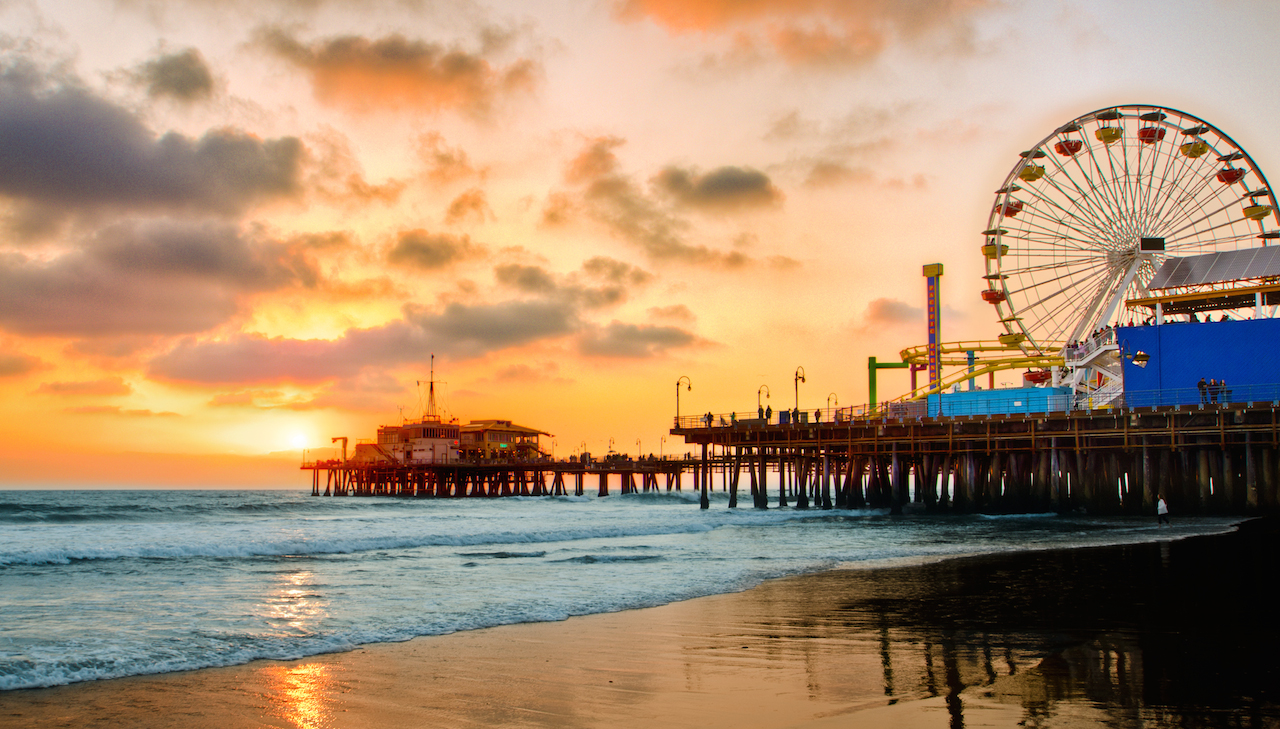 Worldcare NZ Recommends Sunset on Santa Monica Pier in Our Recommendations for 24 Hours in LA.