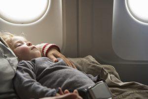 Sleeping, mother's, lap, airplane, jetlag