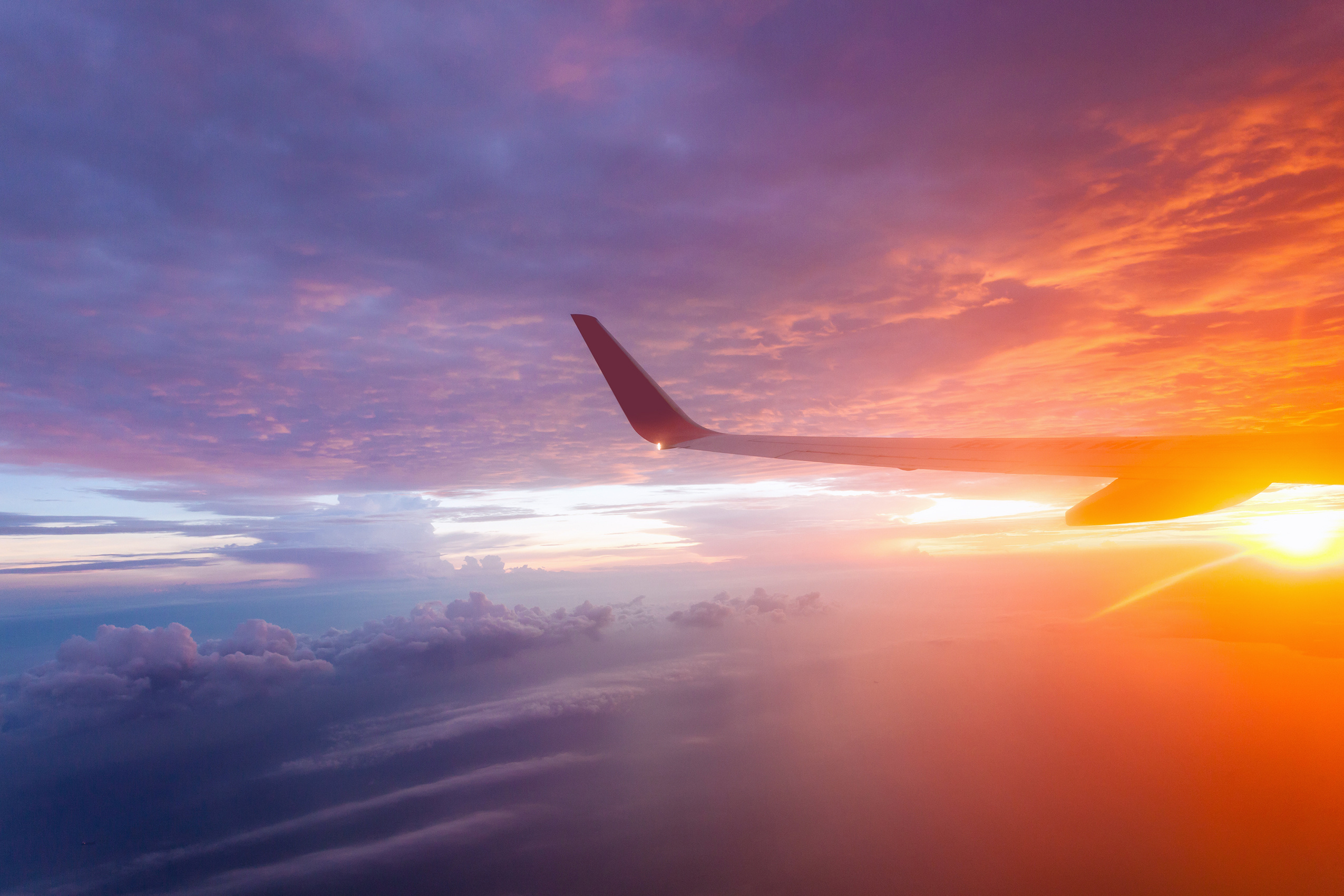 Flying in the sky and the sea of clouds. WiFi is now available on nearly half of all aeroplanes.